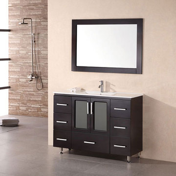 Design Element Stanton 48 Inch Single Drop In Sink Vanity Set With Mirror