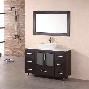 Design Element Stanton 48 Inch Single Vessel Sink Vanity Set With Mirror