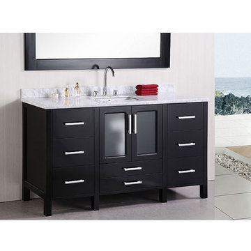 Design Element Stanton 60 Inch Single Sink Vanity Set With Mirror