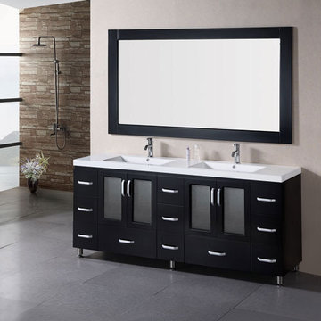 Design Element Stanton 72 Inch Double Drop In Sink Vanity Set With Mirror