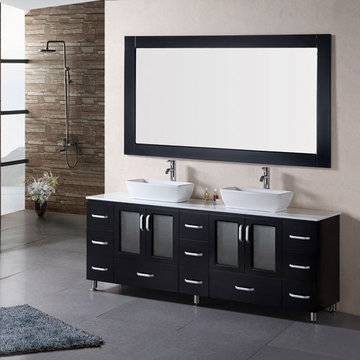 Design Element Stanton 72 Inch Double Vessel Sink Vanity Set With Mirror