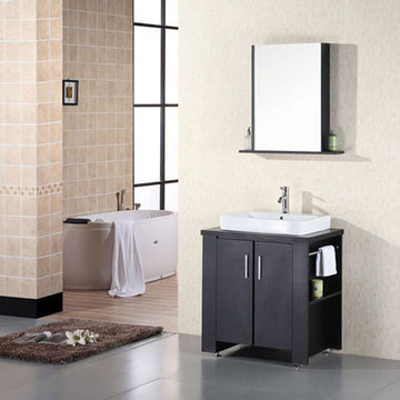 Design Element Washington 36 Inch Double Sink Vanity Set With Mirror