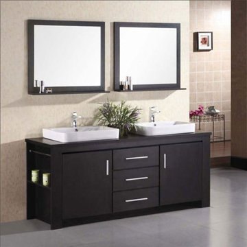 Design Element Washington 72 Inch Espresso Finish Double Sink Vanity Set With Mirrors