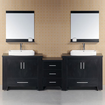 Design Element Washington 88 - 96 Inch Double Sink Vanity Set With Mirrors