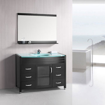 Design Element Waterfall 48 Inch Single Drop In Sink Vanity Set With Glass Top And Mirror