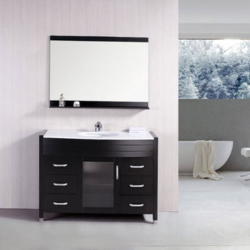 Design Element Waterfall 48 Inch Single Undermount Sink Vanity Set With White Stone Top And Mirror