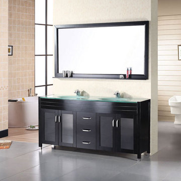 Design Element Waterfall 61 Inch Double Sink Vanity Set With Tempered Glass Top And Mirror