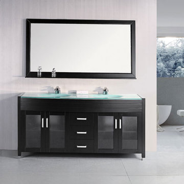 Design Element Waterfall 72 Inch Espresso Finish Double Sink Vanity Set With Mirror