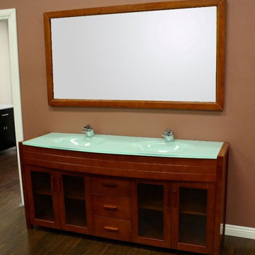 Design Element Waterfall 72 Inch Honey Oak Finish Double Sink Vanity Set With Mirror