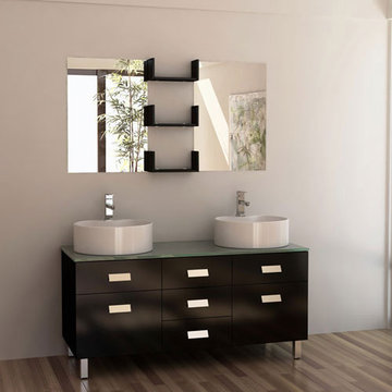 Design Element Wellington 55 Inch Double Sink Vanity Set With Mirrors And Shelves