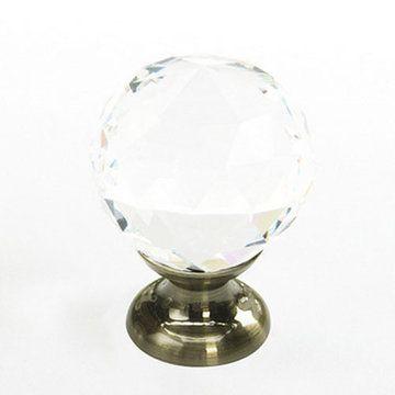 Schaub Fire Round Crystal Cabinet Knob