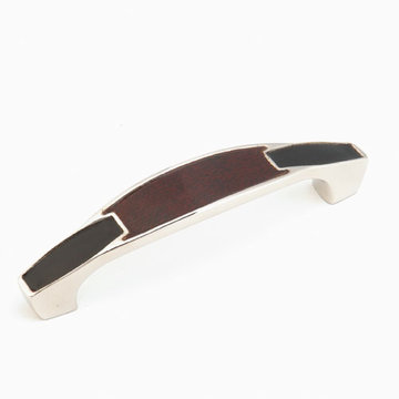 Schaub Symphony 4 Inch Red Leather & Black Leather Cabinet Pull