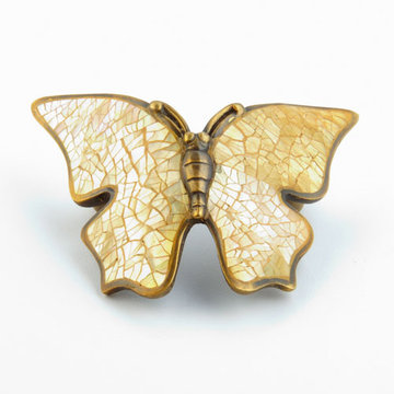 Schaub Symphony Butterfly Wings In Cabinet Pull With Penshell Inlay