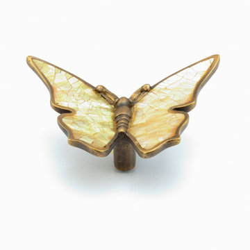 Schaub Symphony Butterfly Wings Out Cabinet Pull With Penshell Inlay