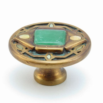 Schaub Symphony Floral Knob With Square Inlay