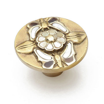 Schaub Symphony Heirloom Flower Cabinet Knob With Inlay
