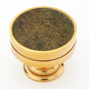 Schaub Symphony Round Cabinet Knob With Antique Green Inlay