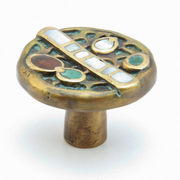 Schaub Symphony Round Cabinet Knob With Jade And Mother Of Pearl Inlay