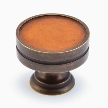 Schaub Symphony Round Cabinet Knob With Sienna Leather Inlay
