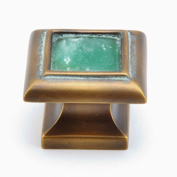 Schaub Symphony Square Cabinet Knob With Jade Inlay