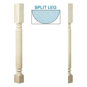 Designs Of Distinction Roman Classic Fluted Half Bar Column Island Leg