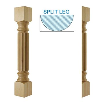Designs Of Distinction Traditional Large Reeded Half Column Island Leg
