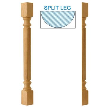 Designs Of Distinction Traditional Reeded Half Bar Column Island Leg