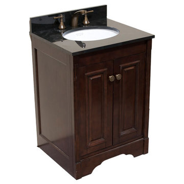 Legion Furniture 24 Inch Dark Walnut Allison Vanity With Absolute Black Top