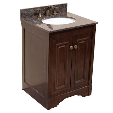 Legion Furniture 24 Inch Dark Walnut Allison Vanity With Dark Tan Brown Top