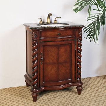 Legion Furniture 26 Inch Baltic Brown Marble Top Vanity