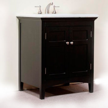 Legion Furniture 30 Inch Marble Top Vanity In Espresso