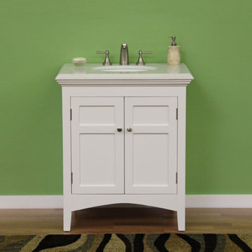 Legion Furniture 30 Inch Marble Top Vanity In White