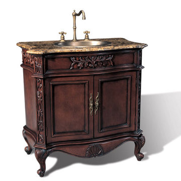 Legion Furniture 36 Inch Brown Marble Sink Chest Vanity