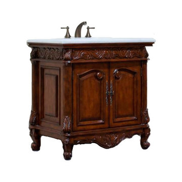 Legion Furniture 36 Inch White Marble Top Vanity