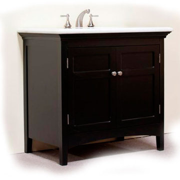 Legion Furniture 38 Inch Marble Top Vanity In Espresso