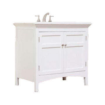 Legion Furniture 38 Inch Marble Top Vanity In White