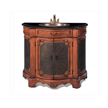 Legion Furniture 40 Inch Black Granite Sink Chest Vanity