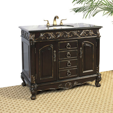 Legion Furniture 41 Inch Black Granite Sink Chest Vanity