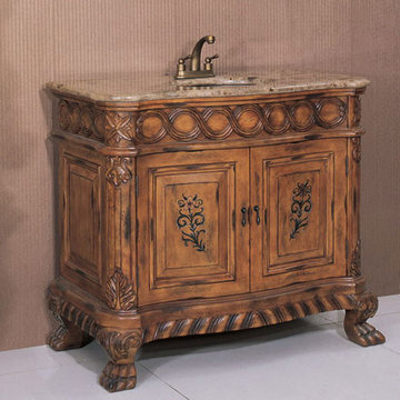 Legion Furniture 41 Inch Brown Marble Sink Chest Vanity