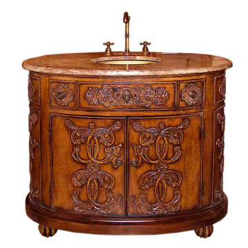 Legion Furniture 42 Inch Brown Marble Sink Chest Vanity