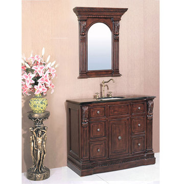 Legion Furniture 43 Inch Black Granite Top Vanity In Cherry