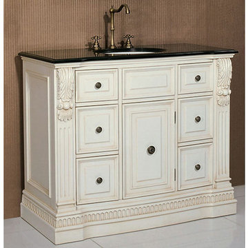 Legion Furniture 43 Inch Black Granite Top Vanity In White