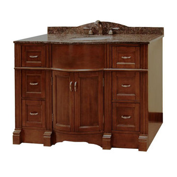 Legion Furniture 48 Inch Abigail Vanity With Dark Tan Brown Top
