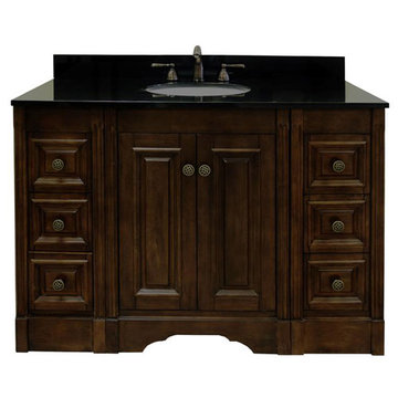 Legion Furniture 48 Inch Dark Allison Vanity With Absolute Black Top