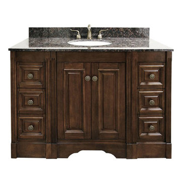 Legion Furniture 48 Inch Dark Allison Vanity With Dark Tan Brown Top