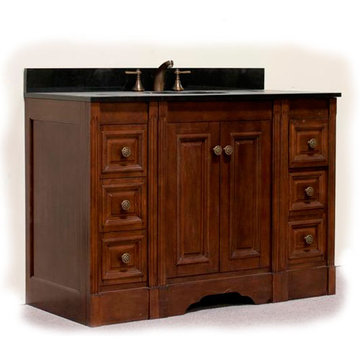 Legion Furniture 48 Inch Light Allison Vanity With Absolute Black Top