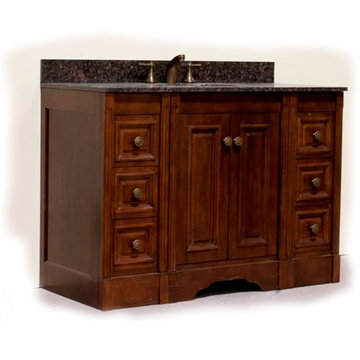 Legion Furniture 48 Inch Light Allison Vanity With Dark Tan Brown Top