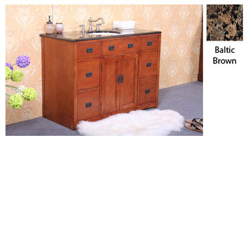 Legion Furniture 48 Inch Sophie Cherry Vanity With Baltic Brown Top