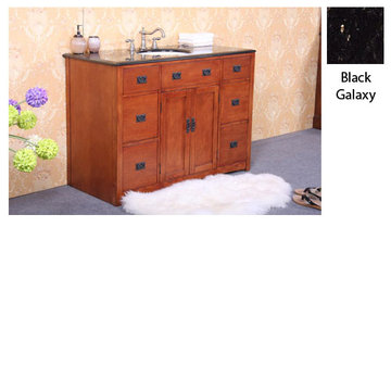 Legion Furniture 48 Inch Sophie Cherry Vanity With Black Galaxy Top