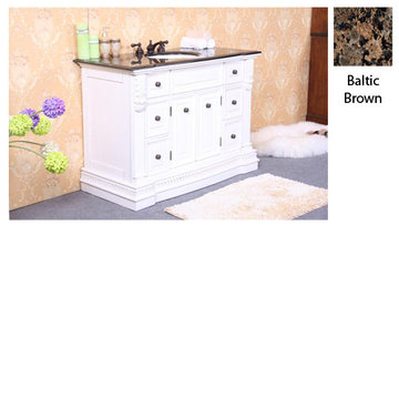Legion Furniture 48 Inch Sophie White Vanity With Baltic Brown Top